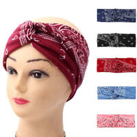 Women Print Bandana Headband Twisted Hair Head Wrap Stretch Headwear Hair Decor