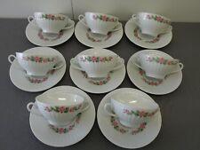 8 schöne Suppentassen mit Rosendekor Eschenbach weiß/rosa !!