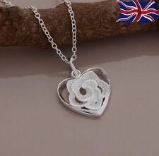 "925 Sterling Silver plated Flower Heart Necklace Rose Pendant 18"" Girls Gift UK"