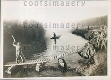 1937 Soviet Troops Build Pontoon Bridge During Maneuvers Moscow Press Photo