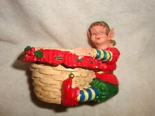 Collectible Christmas Elf Holding Basket Resin #010