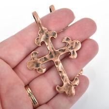 5 GUNMETAL Cross Fleury Relic Charms Hammered chs2950 Fleur de Lis Cross