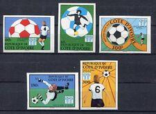 s5333) IVORY COAST 1978 MNH** WC Football - Coppa del Mondo Calcio 5v. IMPERF