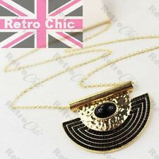 RETRO hammered BLACK/GOLD FASHION long chain NECKLACE aztec big CURVED PENDANT