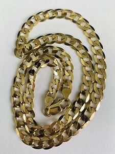 FINE 9CT YELLOW GOLD SOLID CURB LINKED CHAIN NECKLET - 20 INCHES, 1 OUNCE