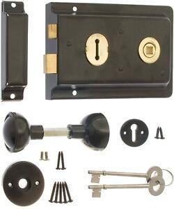 ERA Black Rim Sash Lock 152 x 105mm with Handles, Escutcheon, Screws and 2 Keys