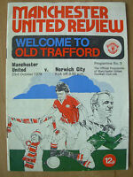 MANCHESTER UNITED v NORWICH CITY 1976-77 DIVISION 1 PROGRAMME