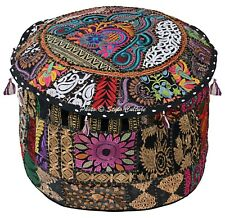Bohemian Ottoman Pouffe Cover Black Cotton Patchwork Embroidered Round 16 Inch