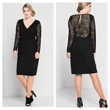 Anna Scholz @ Sheego Plus Size 24 Black Lace Sleeve Back DRESS Evening £125