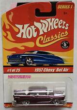 HOT WHEELS CLASSICS SERIES 1 #1/25 1957 CHEVY BEL AIR PURPLE W+