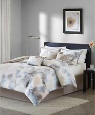 Madison Park Serena 7-Pc Watercolor Floral Geometric Comforter Set - KING - Blue