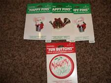 4-Vintage Hallmark Christmas Happy Pins NIP 1984 Lot Joy Thimble Mouse Naughty