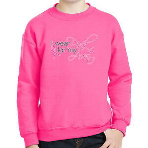 Wear Pink for Aunt Kids Sweatshirt Breast Cancer Support Long Sleeve - 1499C