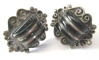 Mexico Sterling Silver Black Onyx Vintage Screwback Earrings