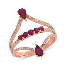 1.01 TCW 14K Rose Gold Natural Pear Round Red Ruby Gemstone Diamond Ring