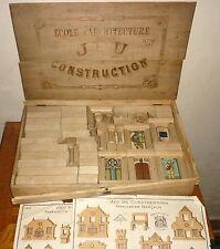 TH.L. Jeu de construction maison Victorienne architecture boite bois 19 eme