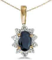 14k Yellow Gold Oval Sapphire And Diamond Pendant (Chain NOT included)