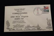 DRW NAVAL COVER #125 COMMISSIONING USS WEST VIRGINIA (SSBN-736) 1990 HAND CANCEL