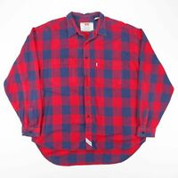 Vintage LEVIS Red & Blue Checked Cotton Long Sleeve Flannel Shirt Size Mens XL