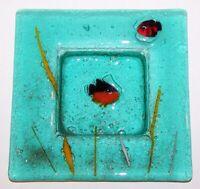 "LOVELY MURANO ART GLASS AQUARIUM ORANGE & BLACK FISH W/ GOLD SQUARE 6 1/4"" TRAY"