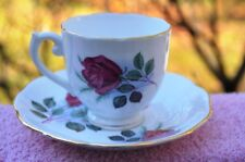 ROSLYN FINE BONE CHINA CUP & SAUCER DUO IN RED ROSE PATTERN FROM ENGLAND