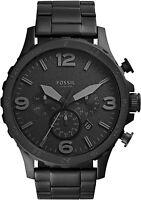 Fossil Men's Nate Stainless Steel Chronograph Quartz Watch JR1401 Black