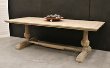 Large Oak Country French Hamptons Style Twin Pedestal Dining Table
