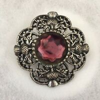 Vintage Celtic Scottish Thistle Brooch Silver/Pewter Toned Purple Faceted Stone