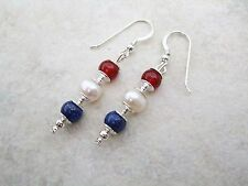 Red Agate, Cream Freshwater Pearl & Blue Lapis Lazuli Drop Earrings Pierced Gift
