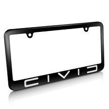 Honda Civic Reverse C Metal License Plate Frame Matte Black Finish
