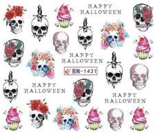 Nail Art Stickers Water Decals Transfer Halloween Skulls Daggers Roses (BN1431)