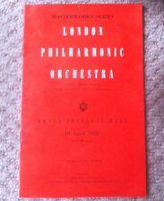 London Philharmonic Orchestra.Goossens.Katz.1 959 Programme.Free Uk P&P