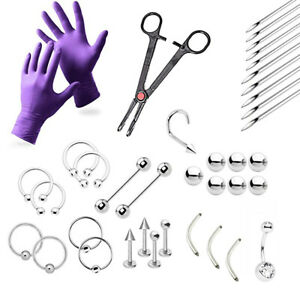 38-Piece Professional Piercing Kit - Lip, Nipple, Belly, Eyebrow, Tongue, Ear