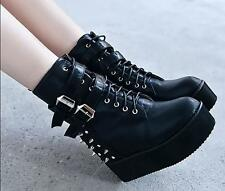 Womens Punk Rivet Spike High Platform Creeper Wedge Heels Boots Shoes