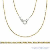 .925 Sterling Silver 14k Yellow Gold & Rhodium Snake Link Chain Necklace - Italy