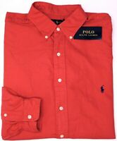 NEW $98 Polo Ralph Lauren Long Sleeve Shirt Mens Red Oxford Classic Fit NWT
