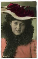 c 1907 Fashion HAT BEAUTY Traut tinted photo postcard