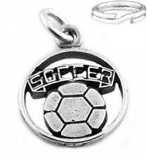 "SILVER ""SOCCER BALL CUT OUT"" CHARM WITH SPLIT RING"