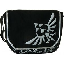 OFFICIAL NINTENDO ZELDA TRIFORCE LOGO MESSENGER BAG - Black Silver Satchel