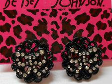Betsey Johnson Iconic Black Jet Filigree Medallion Bow Post Earrings