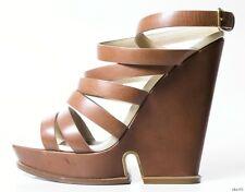 new $995 YSL Yves Saint Laurent Kilima strappy WEDGES platforms shoes 40 US 10