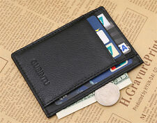 Cool Black Men's leather Magic Wallet slim money clip credit card holder Purse