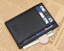 Cool Black Men's leather Magic Wallet slim money clip credit card holder Purse