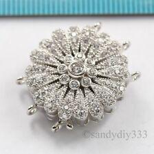 1x Silvertone tres Strand Vintage Broche con diamantes de imitación de cristal-por Exquisito