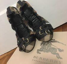Authentic Burberry Ballerina Flats Black Belt Buckles Plaid Checks Size 38 Sz 8