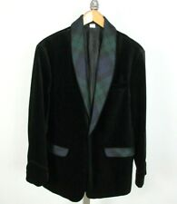 ORVIS Velvet Black Watch Plaid Shawl Collar Smoking Dinner Jacket Sz 40