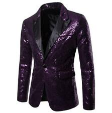 Mens Shiny Glitter Sequins Suit Jacket Blazer One Button Wedding Party Clubwear