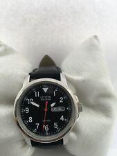 Citizen Men's Eco Drive DayDate Arabic Dial100MT Leather strap Watch E110S006597