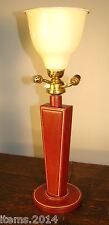LAMPE ADNET  JACQUES ADNET ( ATTRIBUE A ) GRANDE LAMPE EN CUIR PIQUE SELLIER