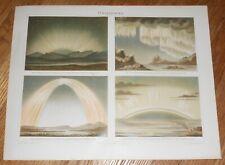 c1895 Antique Color Print of Aurora Borealis Northern Lights